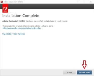 Adobe Installation complete
