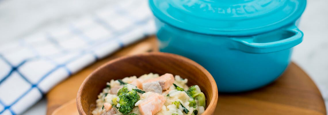 {Giveaway} Le Creuset – Easy Spinach, Salmon and Broccoli Risotto