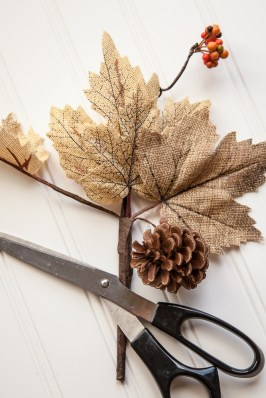 Outdoor Fall Decorating Ideas - burlap leaf sprig scissors