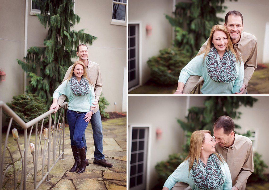 stylish teal sweater engagement photos