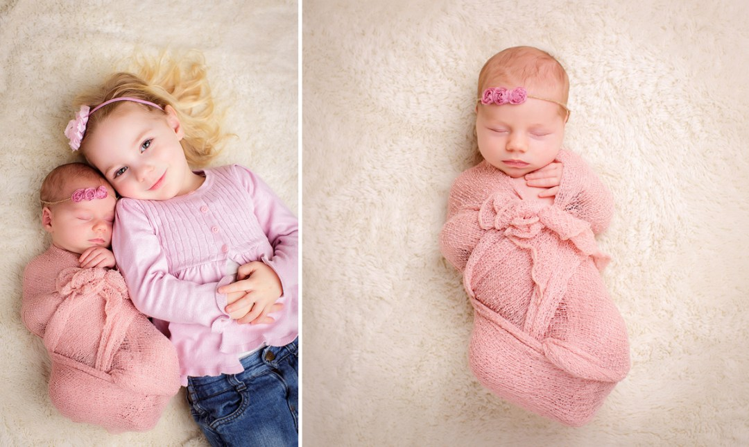 Newborn Girl with older sister pink headbands