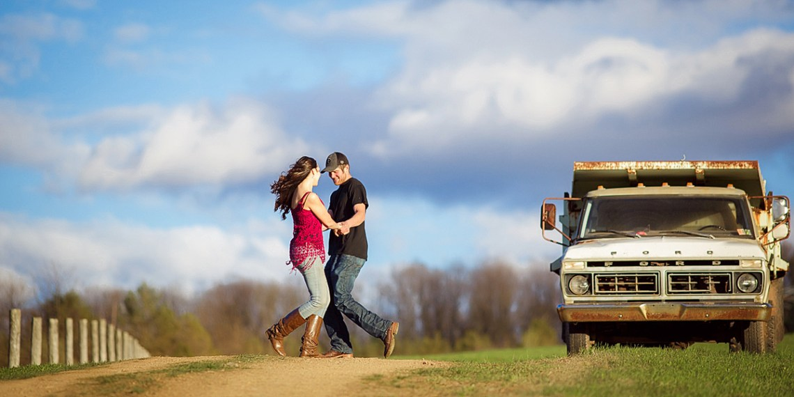 Vintage truck engagement photo schulykill county pa photographer