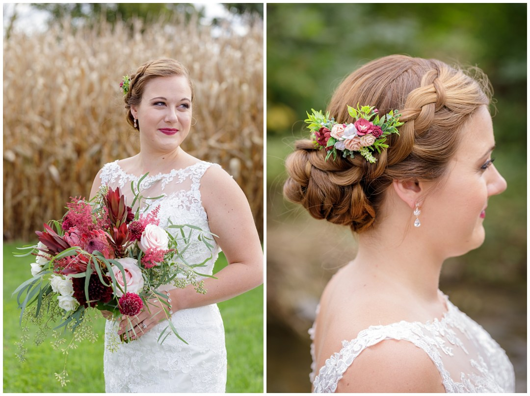 bridal updo with flowers for fall wedding