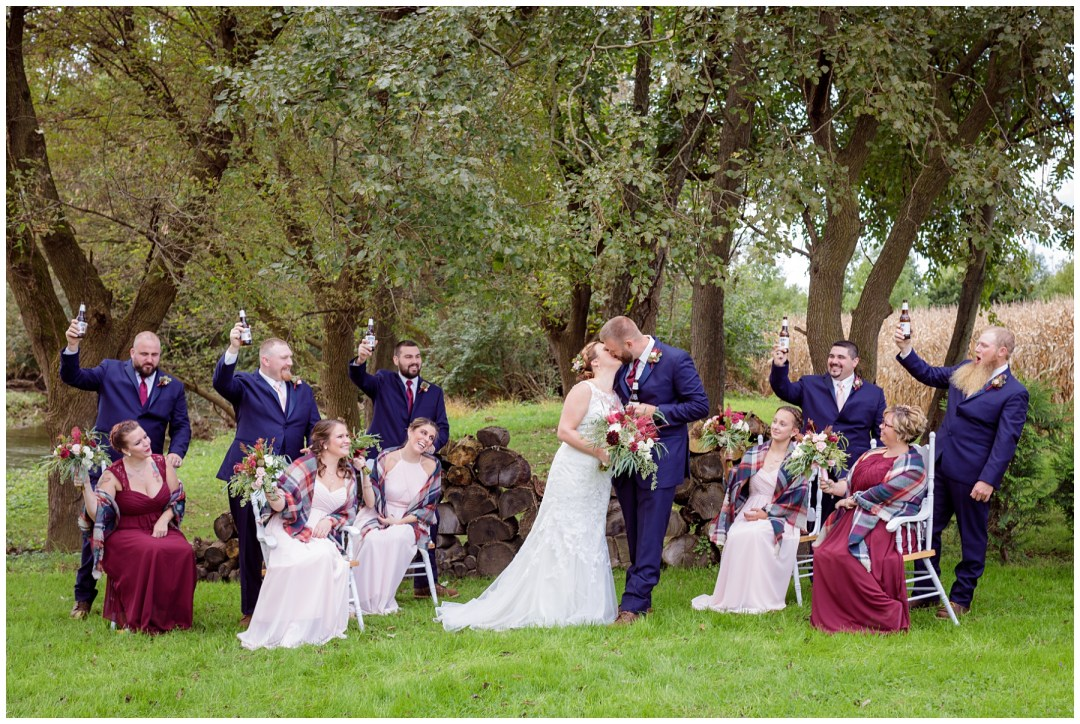 bridal party photos outdoors in fall