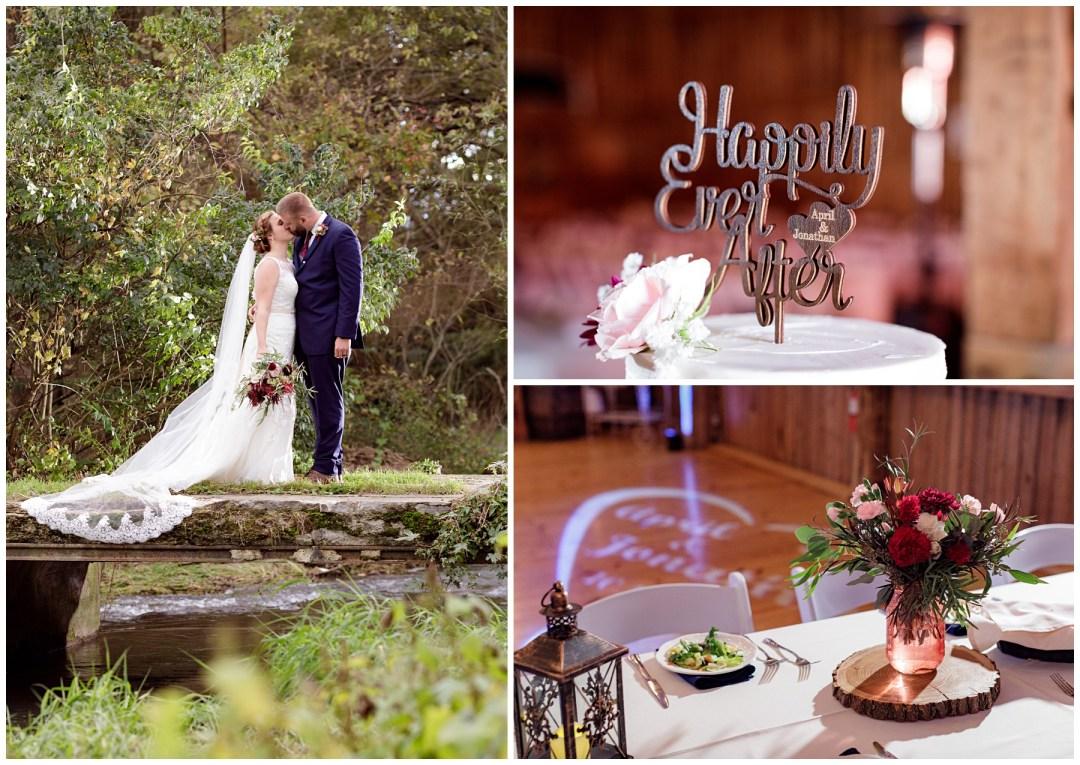 bride and groom on bridge photos