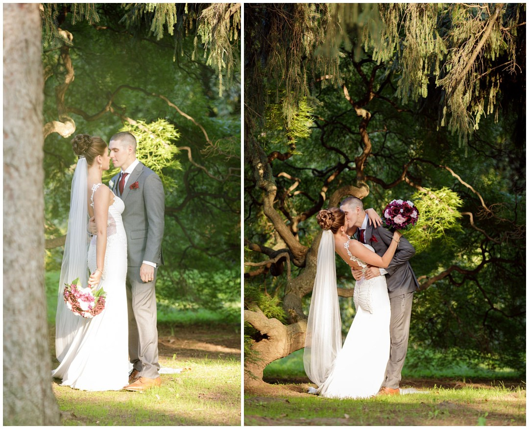 romantic bride and groom shots at japanese maple