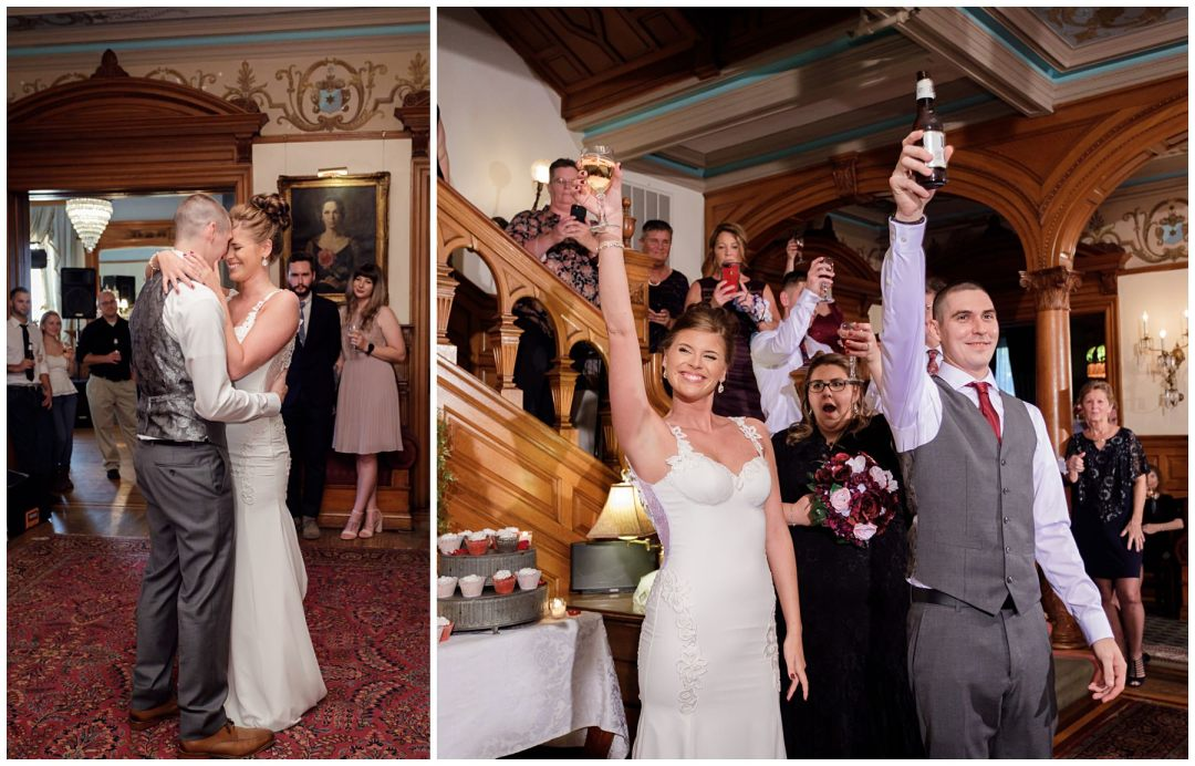 bride and groom toast with beer at historic hotel