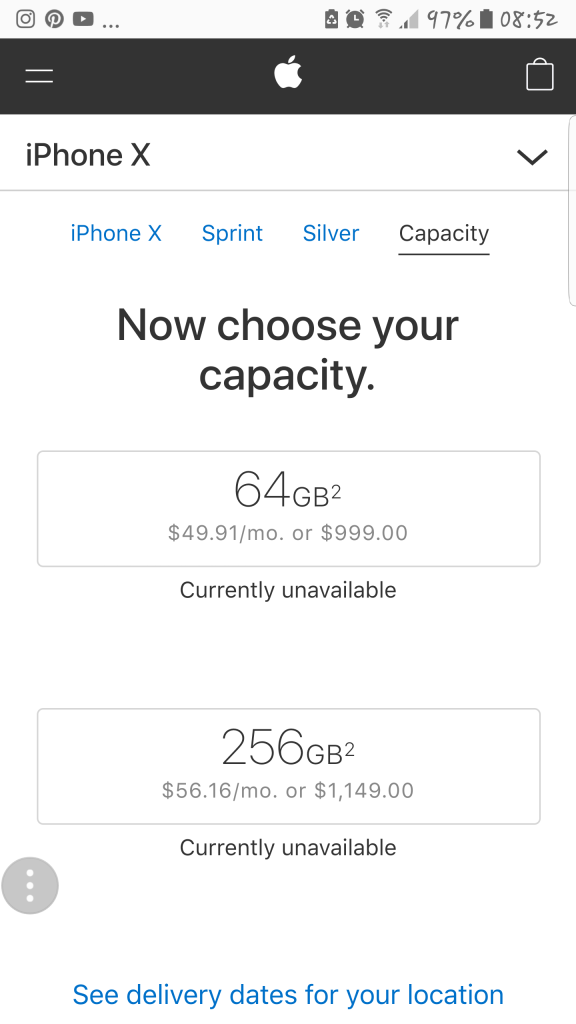 iPhone X pricing