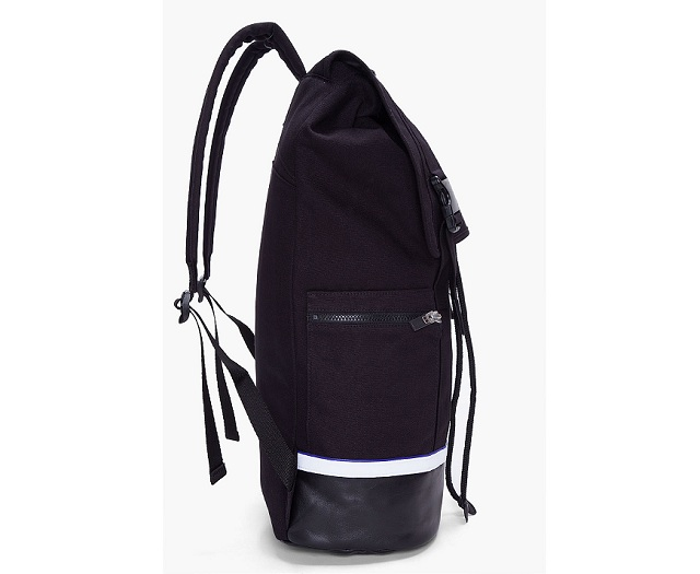 SLVR Black Leather Trimmed Mesh Backpack