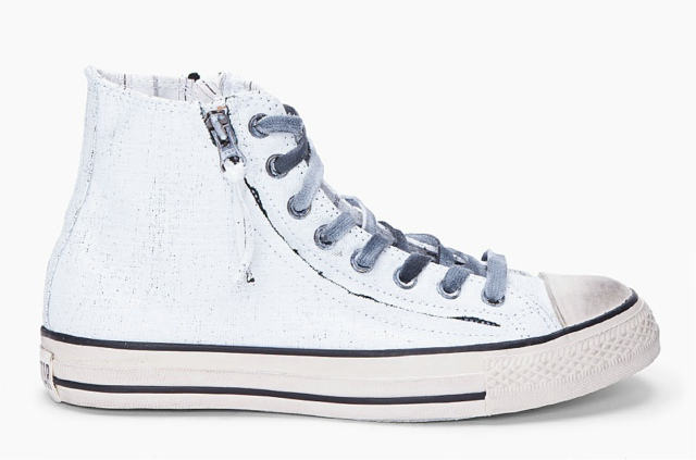 Converse By John Varvatos White Painted Double Zip Sneakers
