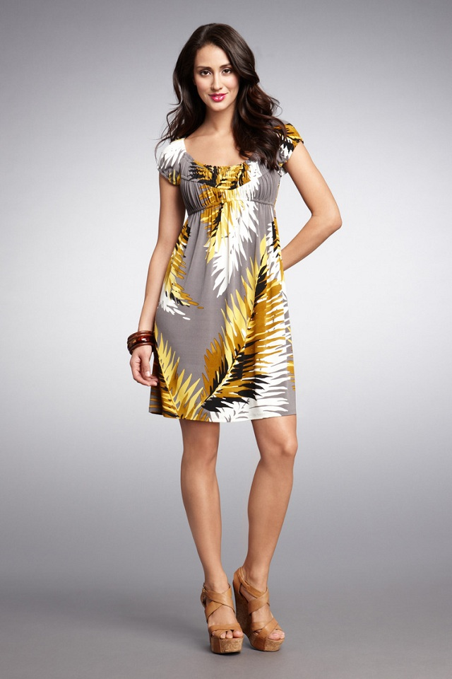 Muse Palm Print Poets Dress