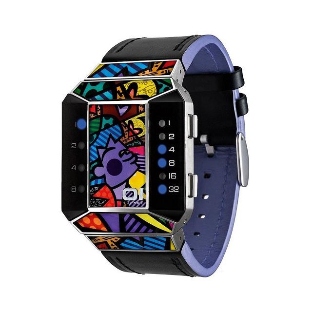 01TheOne Unisex Split Screen Romero Britto Art Purple Watch