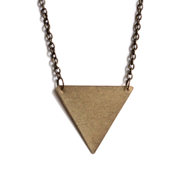 Inverted Brass Triangle Necklace By Beth Coller