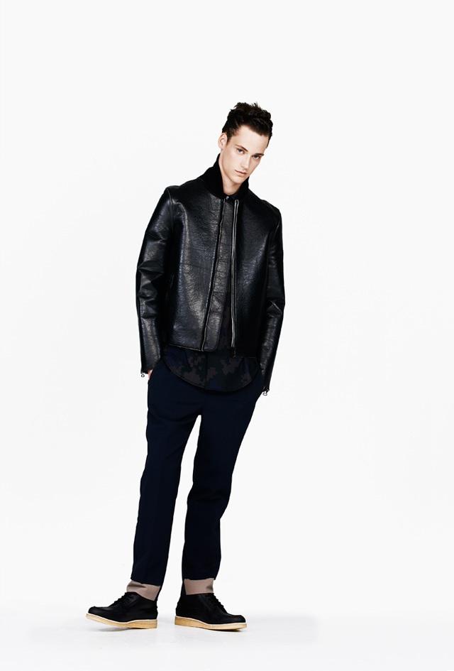 3.1 Phillip Lim Black Sculpted Leather Sports Jacket