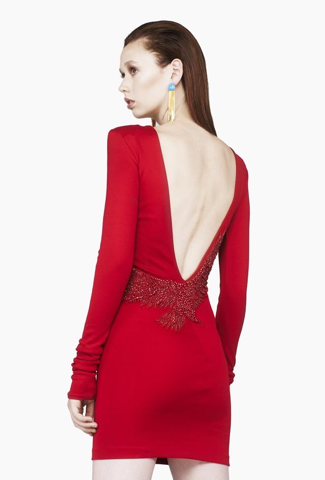 Balmain Red Embroidered Bird Dress