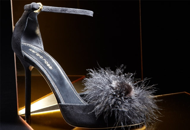 Sergio Rossi Mink And Suede Ankle Strap Sandals