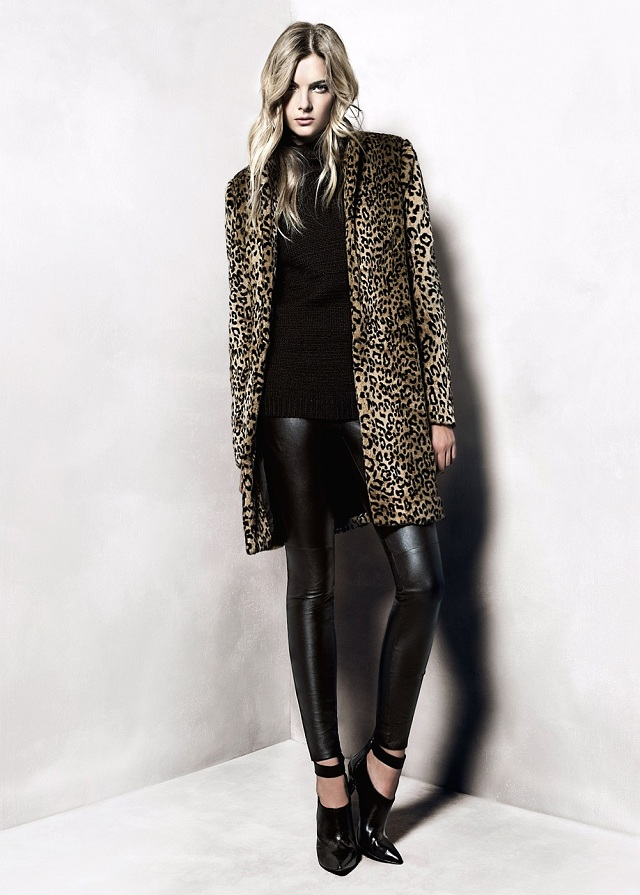 MANGO Animal Print Faux Fur Coat