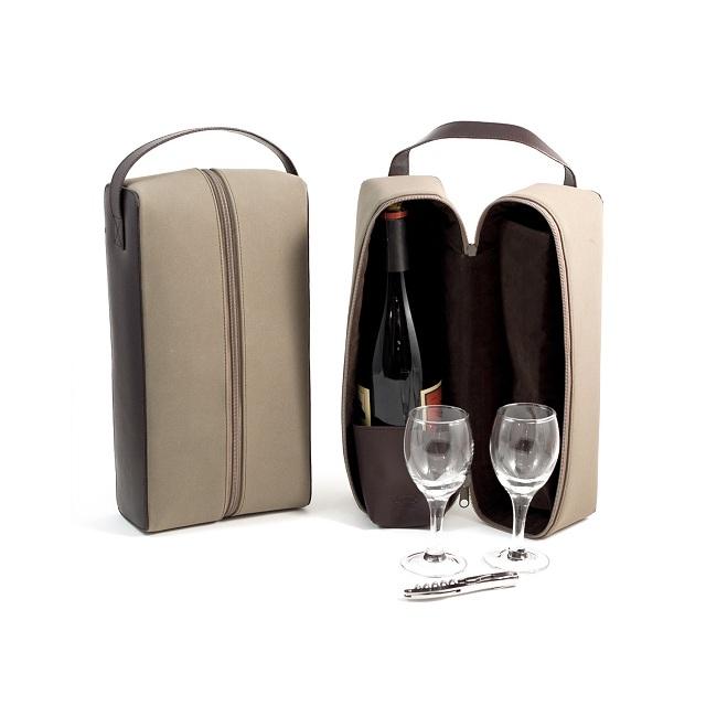 Bey Berk International BS940N Brown Leather 2 Bottle Wine Caddy