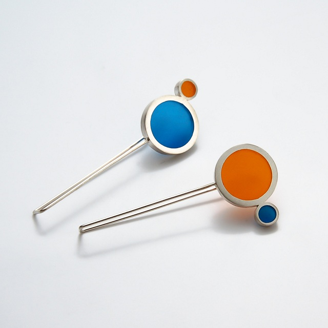 Filip Vanas / Drop Earrings w/ Sterling Silver & Epoxy Resin