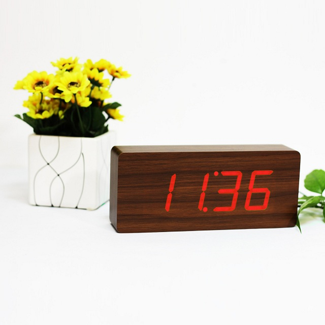 Gingko LED Slab Alarm Click Clock_2