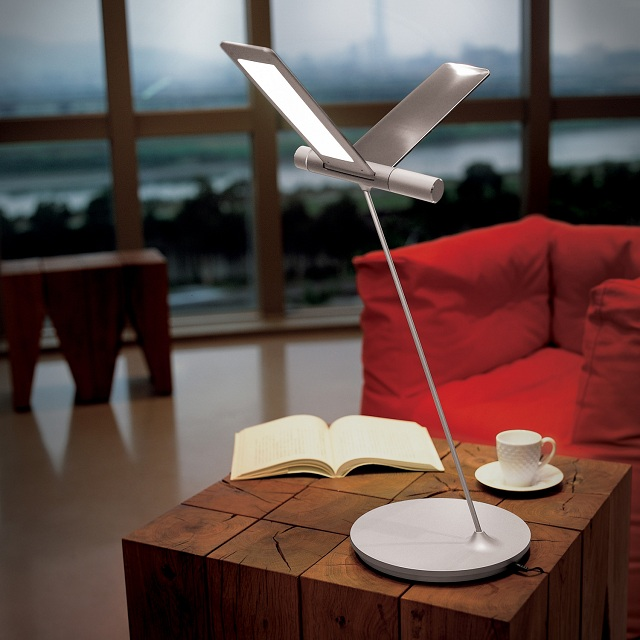 Seagull Task Lamp by QisDesign for Square Walnut