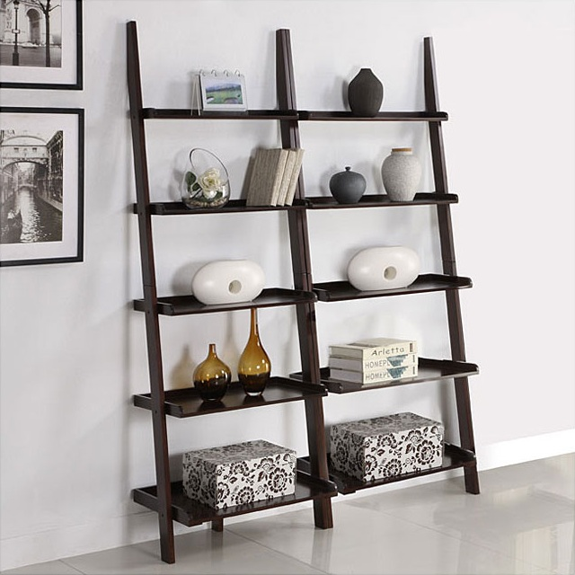 Walnut Five Tier Ladder Shelf_2