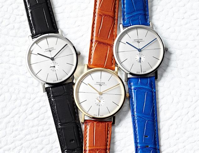 Swisstek Retro Aces BlueWhite Stainless Steel Watch