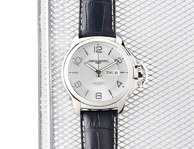 Jorg Gray Men's Quartz Analogue Watch JG1850-18 With Italian Leather Crocodile Pattern Strap and Silver Dial