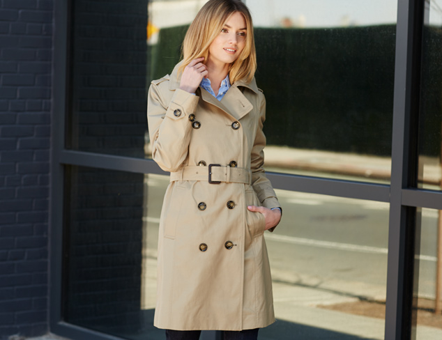 London Fog Double Breasted Classic Trench Coat