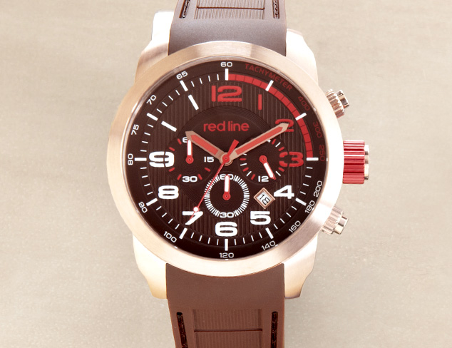 red line 60005 Overdrive Chronograph Brown Textured Dial Brown Silicone Watch