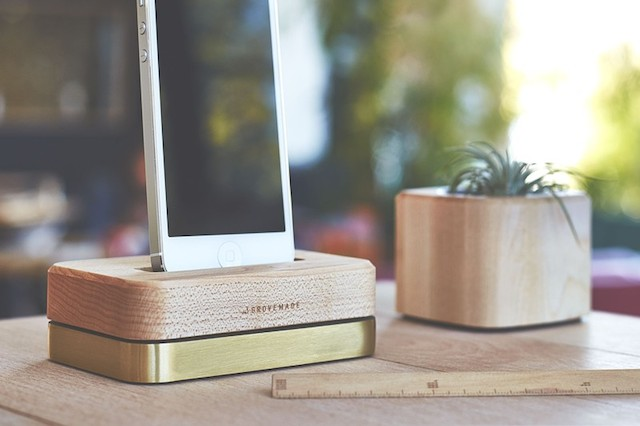 GROVEMADE Limited Edition iPhone Dock in Brass and Maple