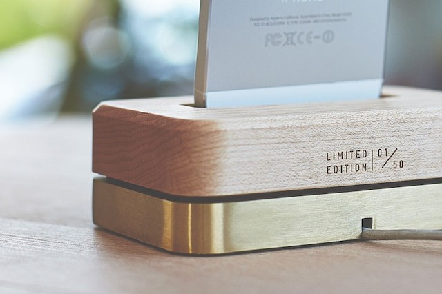 GROVEMADE Limited Edition iPhone Dock in Brass and Maple_1