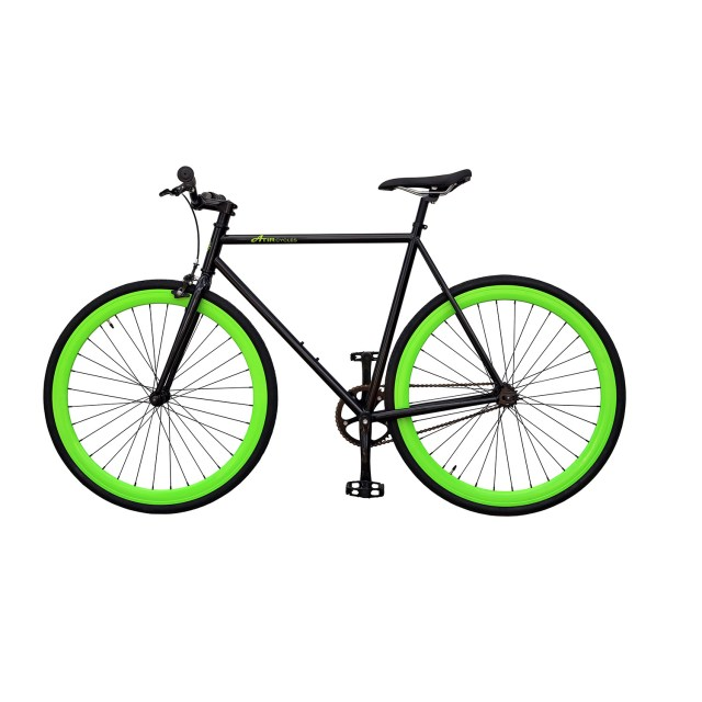 ATIR Cycles Single Speed / Fixed Gear Urban Road Bike in Black + Green