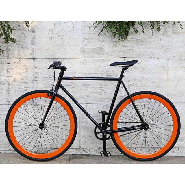 ATIR Cycles Single Speed / Fixed Gear Urban Road Bike in Black + Orange