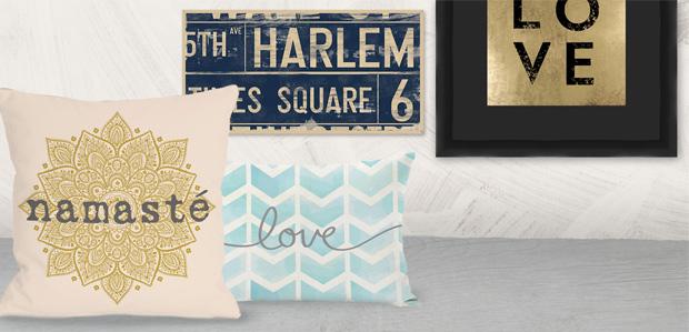 Talk of the Room: Typography Art & Pillows at Rue La La