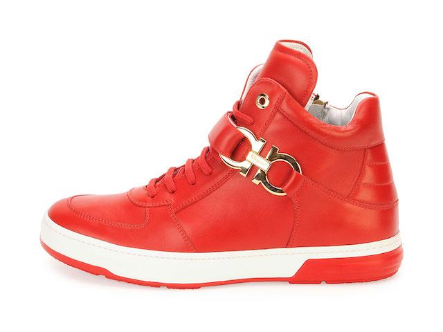 Salvatore Ferragamo Nayon Gancini Leather High-Top Sneakers_1