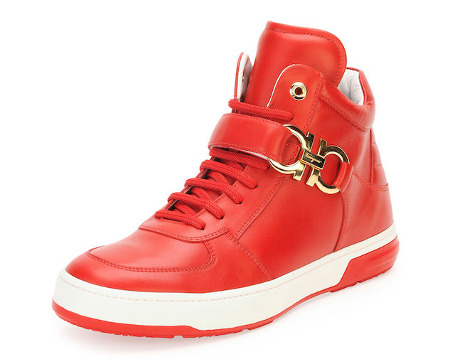 Salvatore Ferragamo Nayon Gancini Leather High-Top Sneakers_2