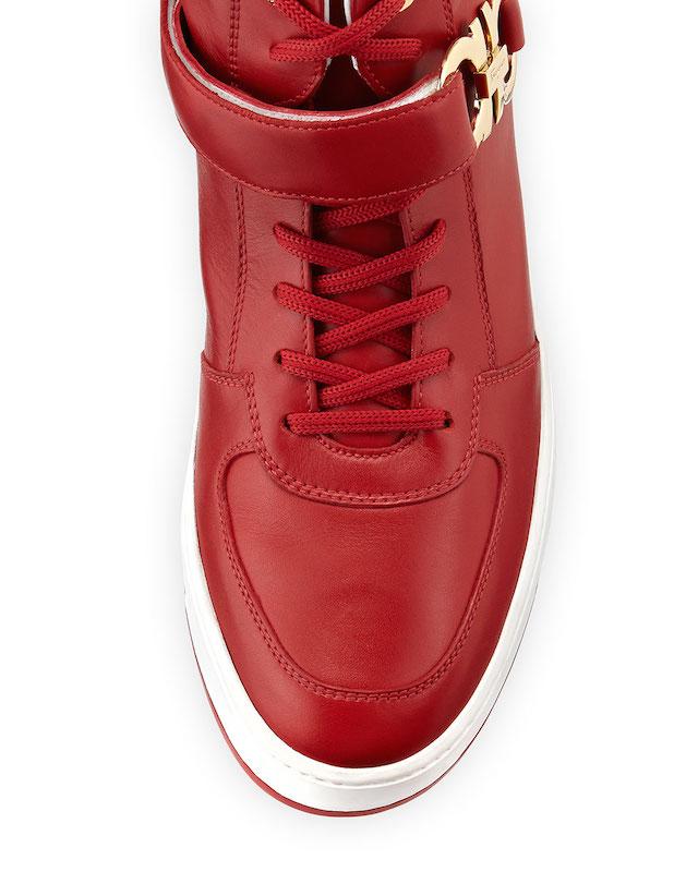 Salvatore Ferragamo Nayon Gancini Leather High-Top Sneakers_4