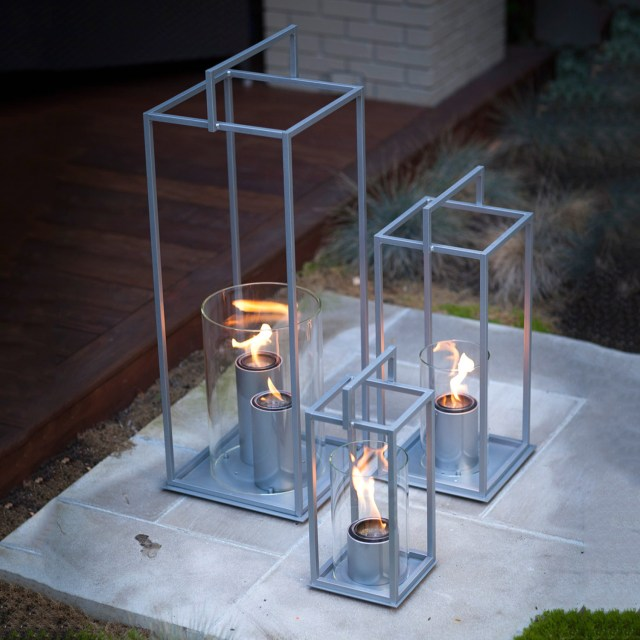 Terra Flame Hampton Lantern - Brushed Steel