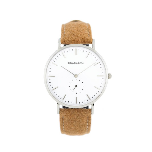 Rossling & Co. Classic Ultra-thin Quartz Watches in Silver & White