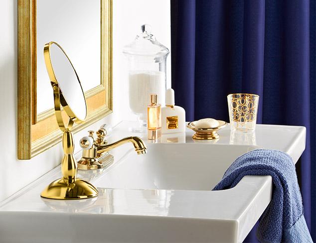 Spring Update: Indigo & Gold Bathroom at MYHABIT