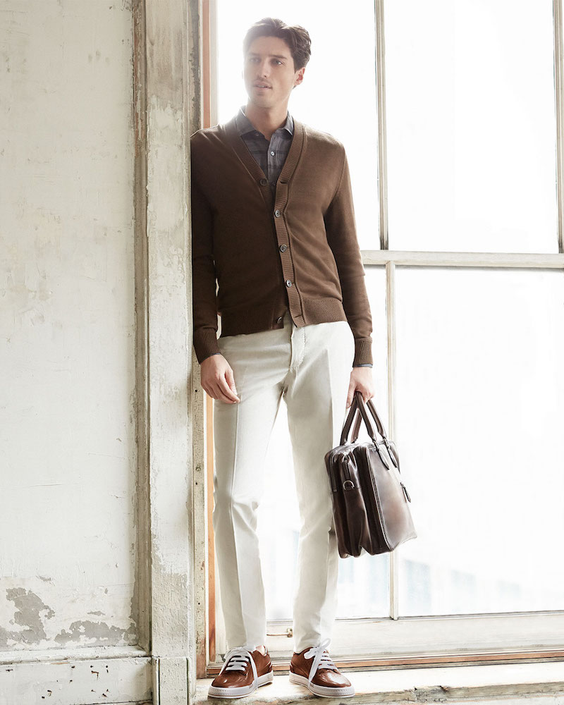 Berluti Cardigan with Leather-Placket