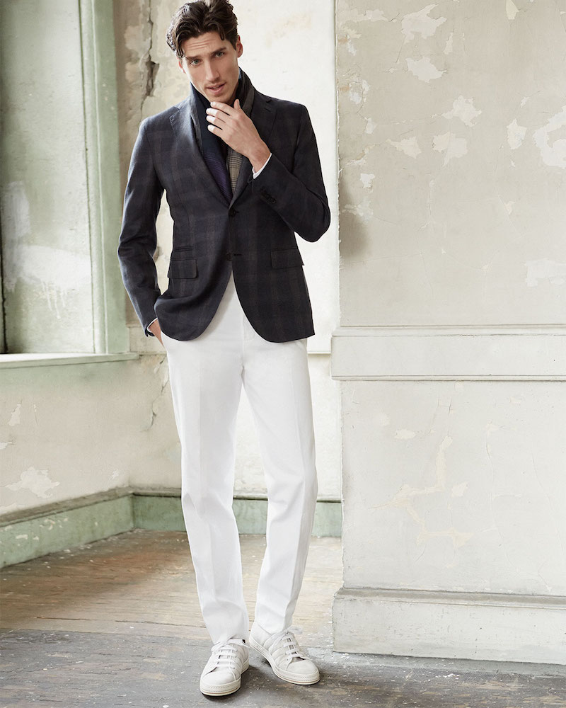 Berluti Linen-Cotton Blend Flat-Front Trousers