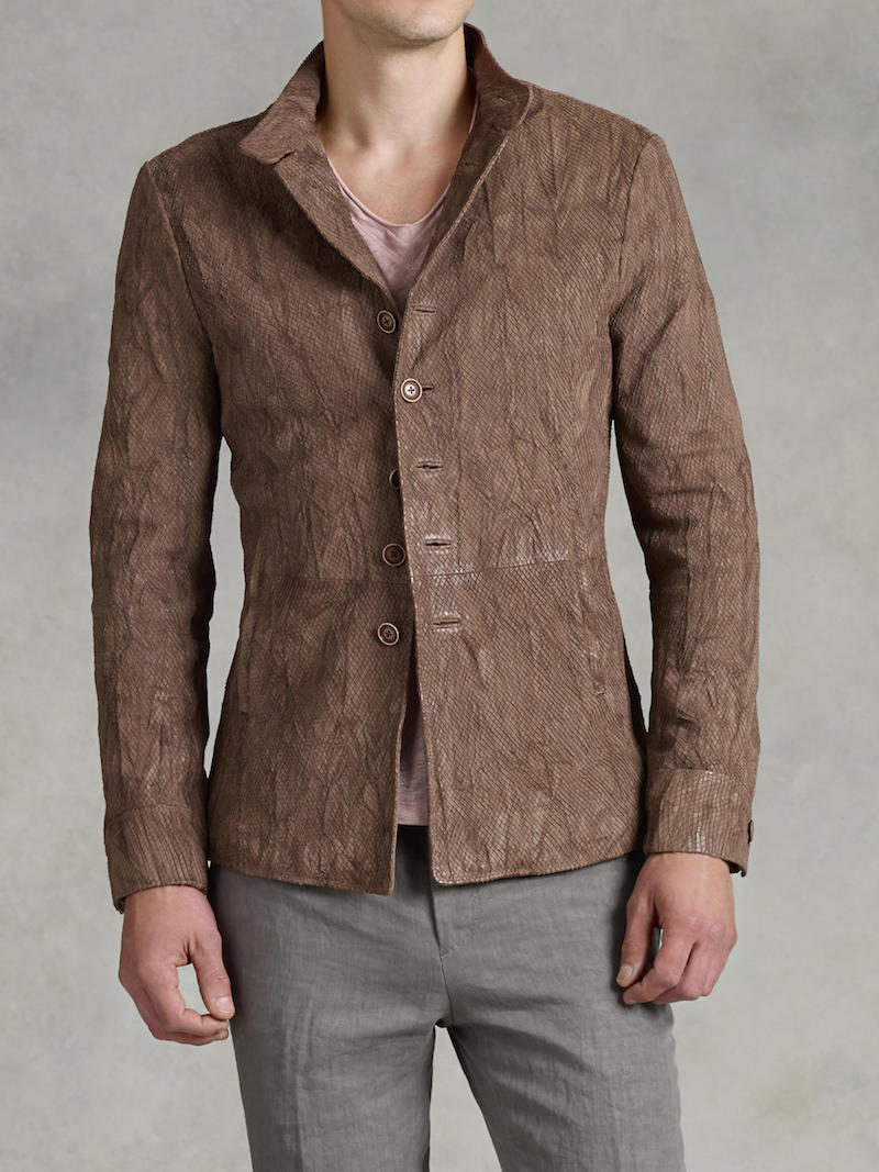 John Varvatos Embossed Button Front Leather Jacket