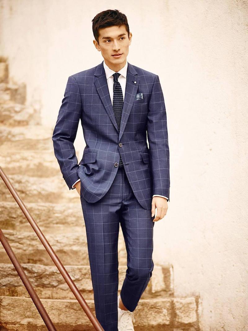 MANGO Check Wool Suit Blazer
