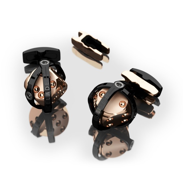 Encelade 1789 Dice Cufflinks + Clip // Black PVD + Rose Gold