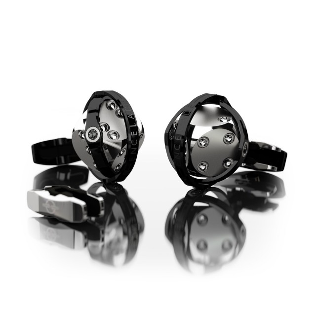 Encelade 1789 Dice Cufflinks + Clip // Stainless Steel + Black PVD
