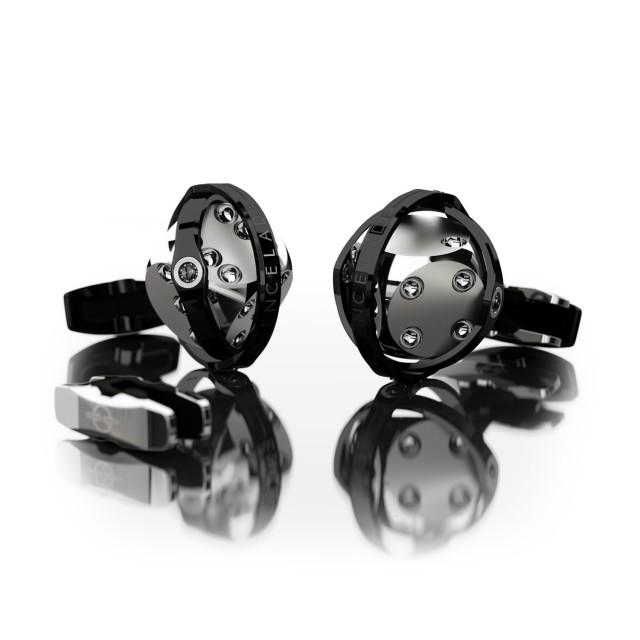 Encelade 1789 Dice Cufflinks + Clip // Stainless Steel + Black PVD