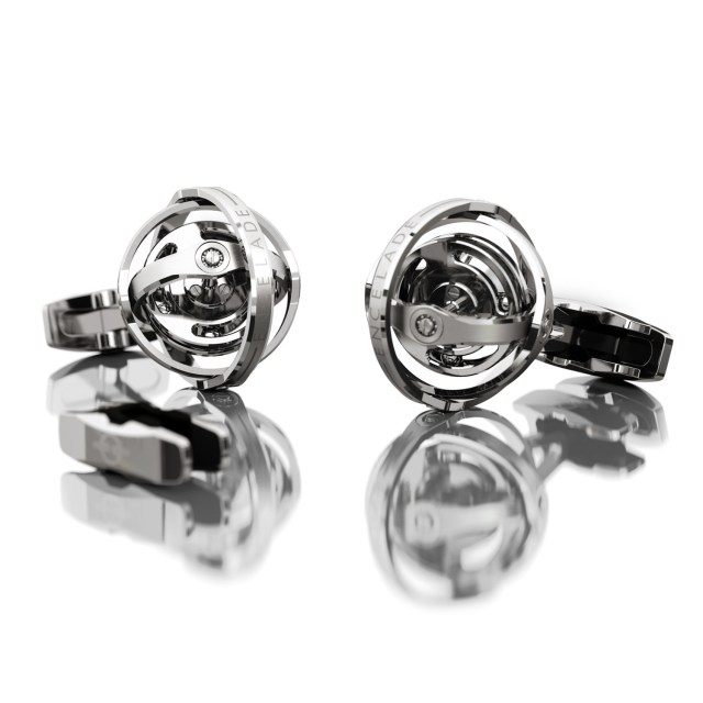 Encelade 1789 Gyro Cufflinks + Clip // Stainless Steel