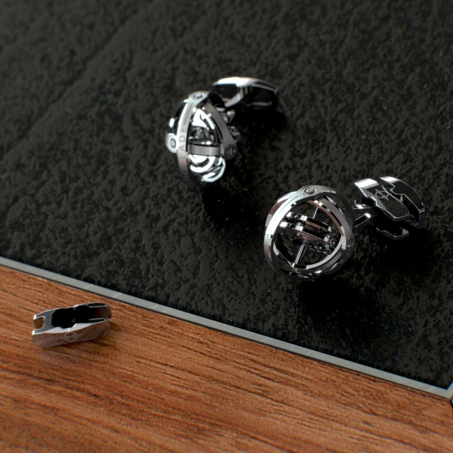 Encelade 1789 Gyro Cufflinks + Clip // Stainless Steel